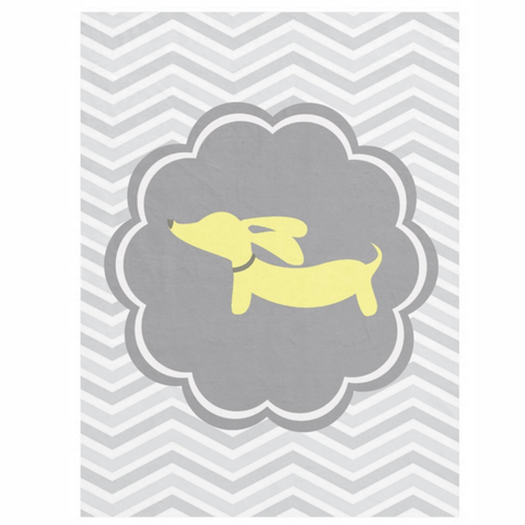 Yellow Dachshund + Gray Scalloped Circle Fleece Blanket