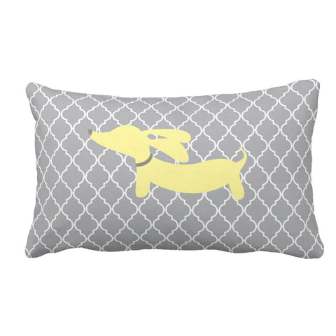 Yellow & Gray Wiener Dog Pillow, The Smoothe Store