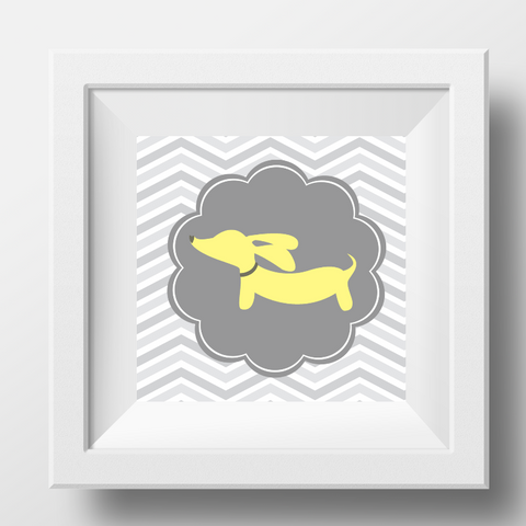 Yellow & Gray Dachshund Prints