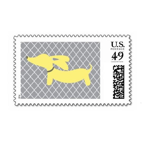 Yellow & Gray Dachshund Postage Stamps