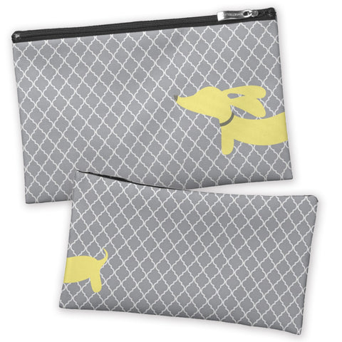 Yellow & Gray Dachshund Accessory Travel Bags