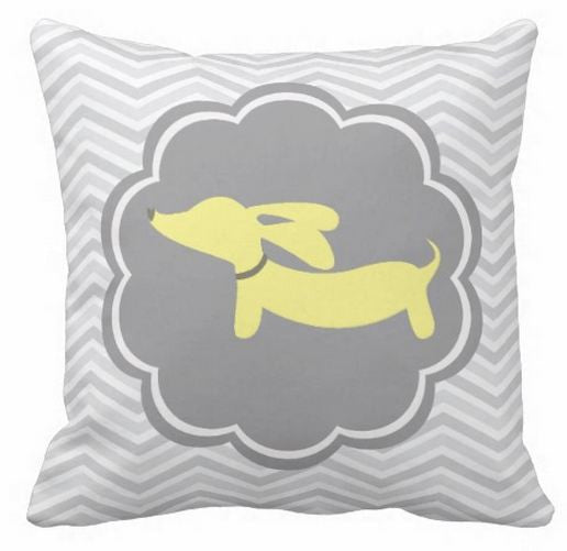 Yellow Dachshund on Gray Scalloped Circle Pillow - The Smoothe Store - 1