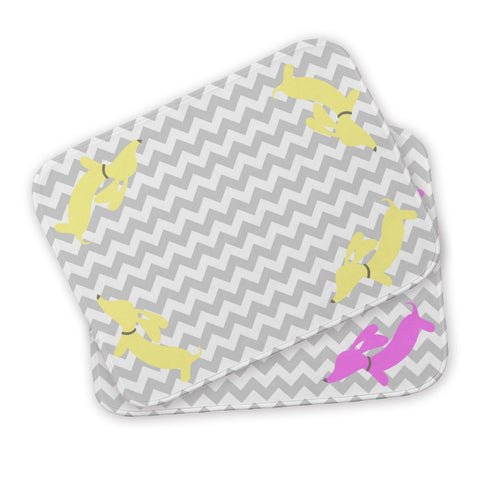 Yellow & Pink Sausage Dog Baby Burp Cloth