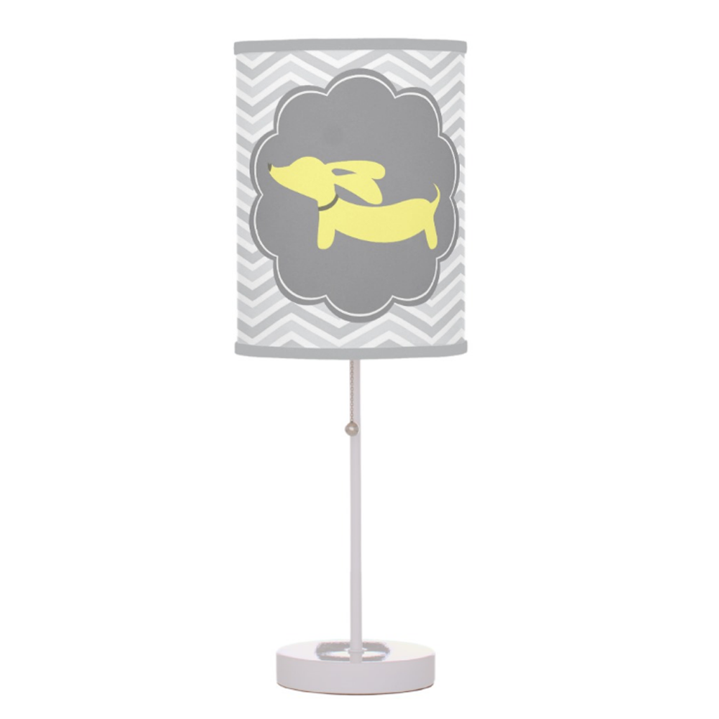 Yellow and Gray Wiener Dog Nursery Lamp, The Smoothe Store