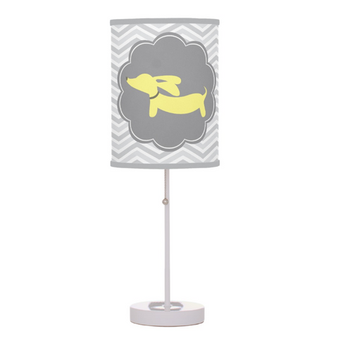 Yellow and Gray Wiener Dog Nursery Lamp