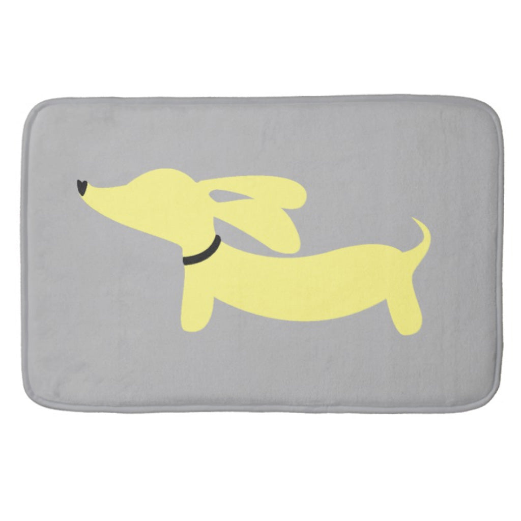 Yellow Doxie Dog Bath Rugs