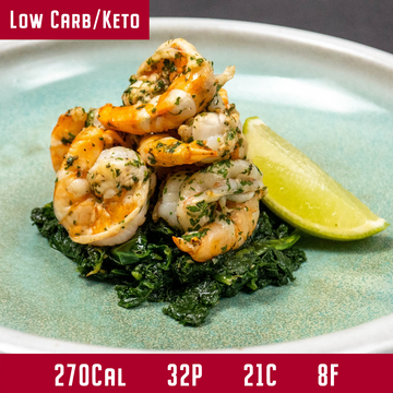 Coriander Prawns with Chili Spiced Kale & Toasted Almonds