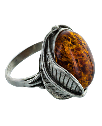 AMBRE amber vintage silver ring