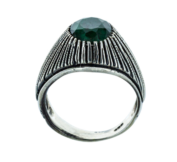 ANNE silver ring and green tourmaline