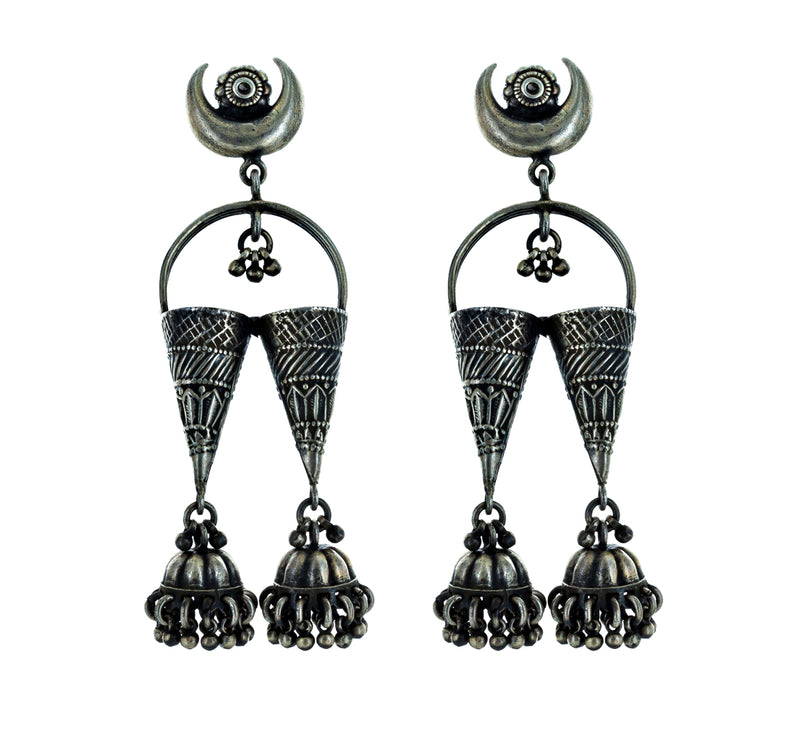 CECILE silver earrings with crescent moon