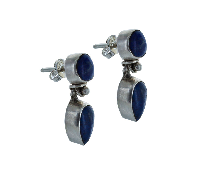 ELYANE silver earrings with lapis lazuli stone