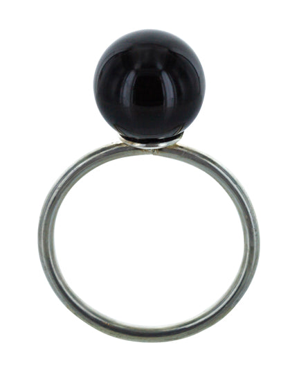 ESTHER onyx silver ring