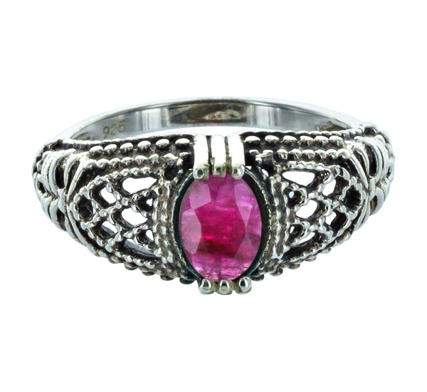 LUCIE silver ring red tourmaline