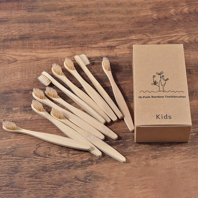 New design mixed color bamboo toothbrush Eco Friendly wooden Tooth Brush Soft bristle Tip Charcoal adults oral care toothbrush