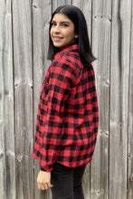 Load image into Gallery viewer, Our Home Sweet Home Flannel is your classic Buffalo Plaid Flannel with a twist. She has a red and black checkered plaid pattern. She features one front pocket and is Sherpa lined through the chest and back making her extra warm for the Winter. You can wear her by herself buttoned up or open with a tee or tank underneath. She is available in our Missy and Curvy Collections.