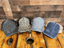 Load image into Gallery viewer, C.C. Washed Denim Pony Cap