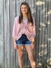 Load image into Gallery viewer, Looking for a cute basic top with some sass, our Mauve Mania Top is just what you've been looking for. She is a 3/4 Sleeve Solid top with Batwing Sleeves. She features a Double Deep V Neck in the front and back with Shirring Neck/Waist Details. Scoop this cutie up today!