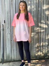 Load image into Gallery viewer, Step into a comfy look with our Dye it Top. She is an oversized dip tie dye top with a drop shoulder. She is a great oversized tee to throw on and explore the world in whether you are taking a short hike or even going for a road trip, this top will not disappoint.