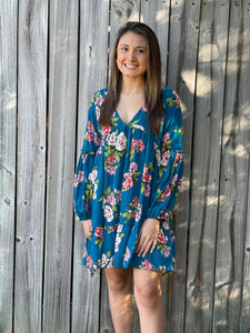 We are obsessing over the blend of colors in our Pop of Color Dress. She is a Flower printed flowy dress, cut in babydoll silhouette. She Features long puff sleeves with banded cuffs and frills, lightly gathered seaming at bust. She is the perfect dress for formal occasions or just a girls night out.