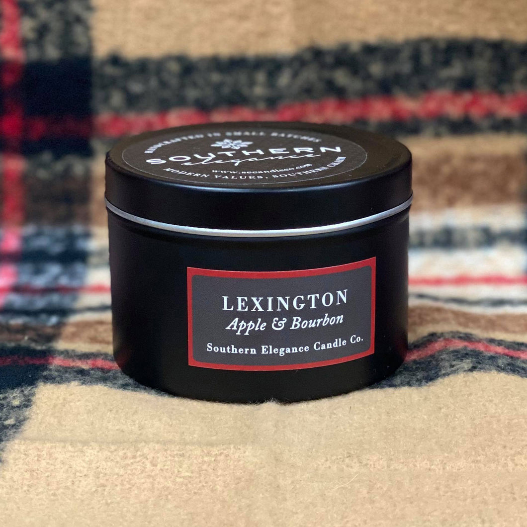 The term Bourbon first began being used in Kentucky in the 1870s.  Our Lexington Black Tin Candle is a 6 oz hand poured soy candle made in Raeford, North Carolina. She has the scent of fresh apples with a touch of vanilla, maple, and a punch of smooth bourbon.  She is made from a premium soy blend and has a burn time of 25 hours. Her container is a sleek black tin that can easily be used as a functional decor piece. She would also make the perfect gift for the candle lover in your life!