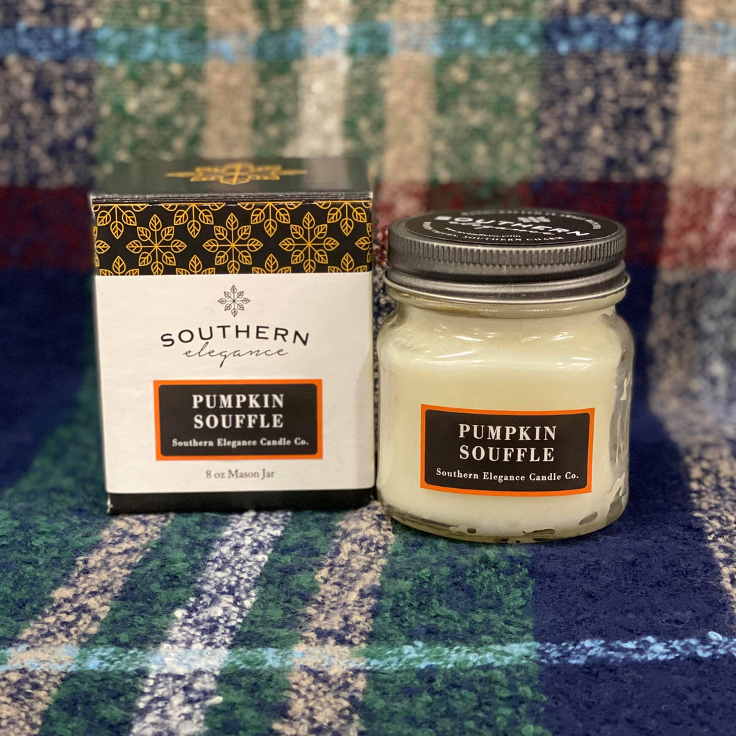 Our Pumpkin Souffle Mason Jar Candle is the perfect Fall scent. She is an 8 oz hand poured soy candle made in Raeford, North Carolina. She is made from a premium soy blend and has a burn time of 55 hours. Her scent is the smell of warm pumpkin blended with cinnamon and crushed clove with a hint of nutmeg and orange peel topped with butter, brown sugar, and a rich vanilla base. She is a great gift for both the pumpkin spice and candle lover in your life!