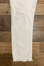 Load image into Gallery viewer, Our For the Love of White Jeans feature distressing and frayed hems on each leg.
