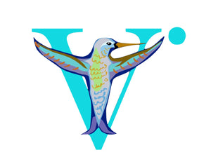 The Logo is a colorful hummingbird with its wings stretched wide. This colorful image is symmetrical and stands in front of a stylized capital V.
