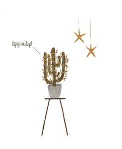Happy holidays cactus kerstkaart