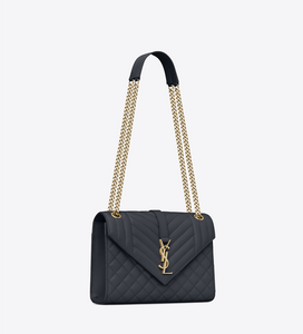 YSL. Envelope Medium Bag In Mix Matelassé Grain De Poudre Embossed Leather
