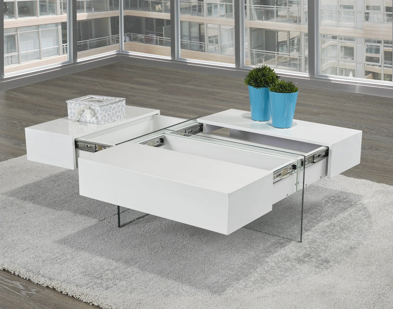 Allen Coffee Table w/ Storage - White Glossy