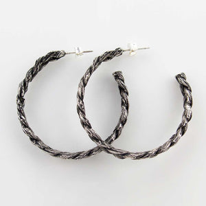 Sterling SIlver Braid Hoop Earrings