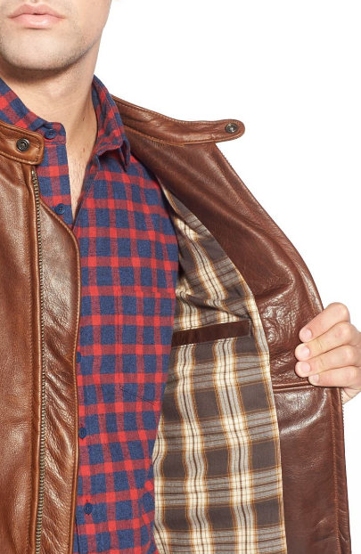 Café Racer Oil Tanned Cowhide Leather Moto Jacket