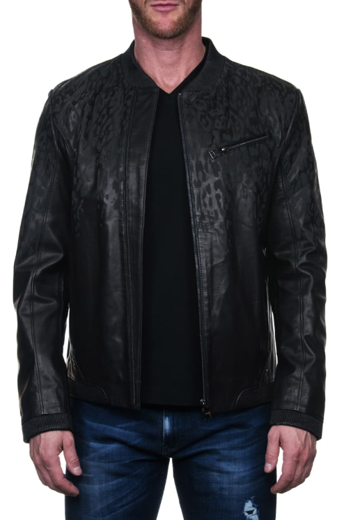 Drips Leather Bomber Jacket