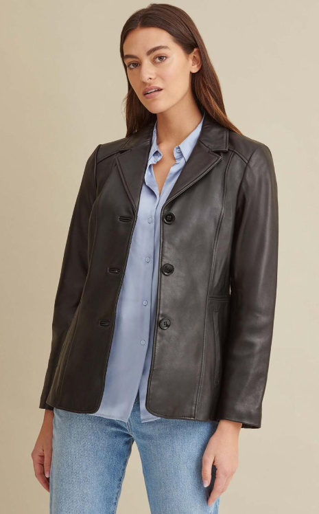 Notch Collar Leather Jacket