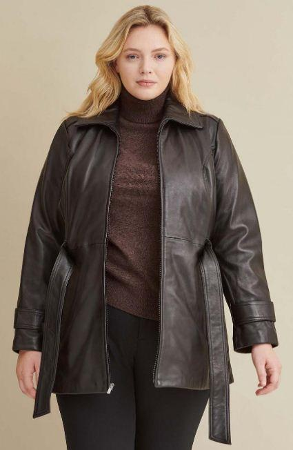 Leather Belted Jacket with Zip Out Liner