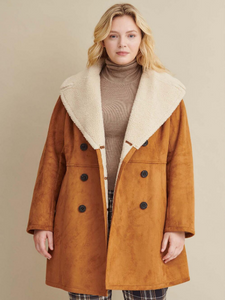 Plus Size Double Breasted Faux Shearling Coat