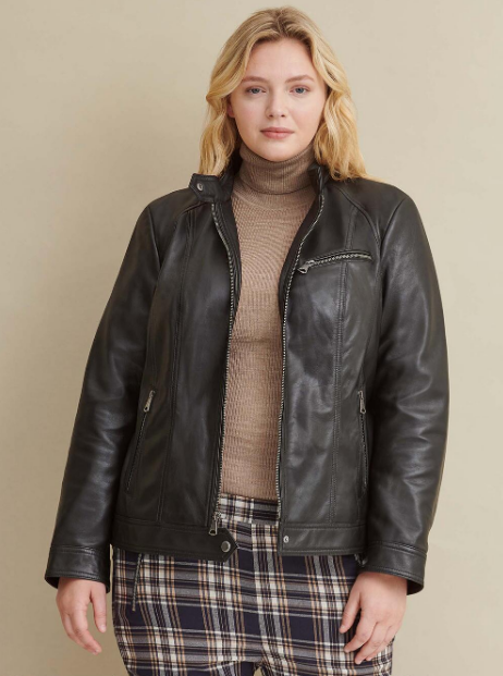 Plus Size Snap Tab Collar Leather Jacket