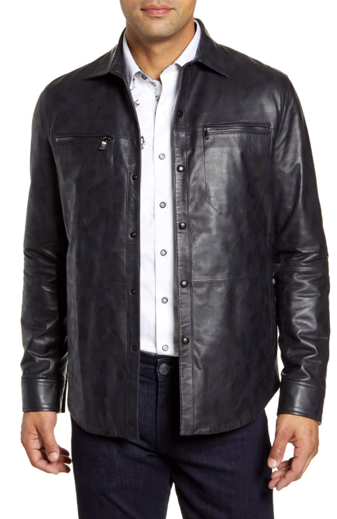Gable Regular Fit Embossed Leather Shirt Jacket