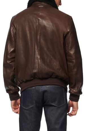 Cuthbert Leather Bomber Jacket with Removable Genuine Shearling Collar
