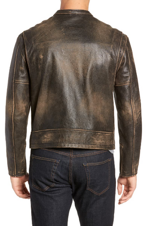 Calfskin Leather Racer Jacket