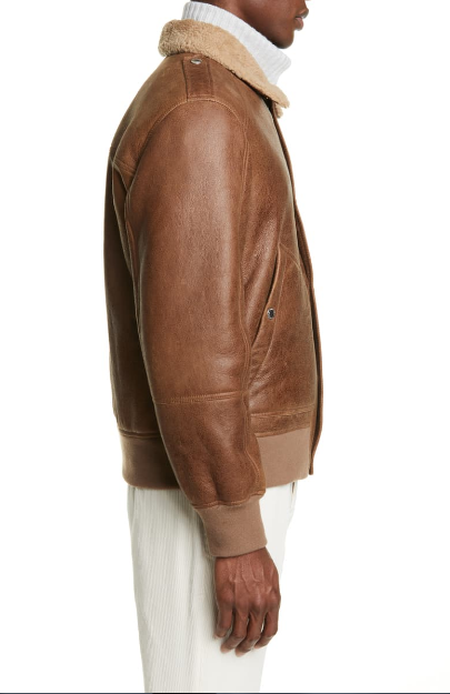 Genuine Shearling & Leather Aviator Jacket