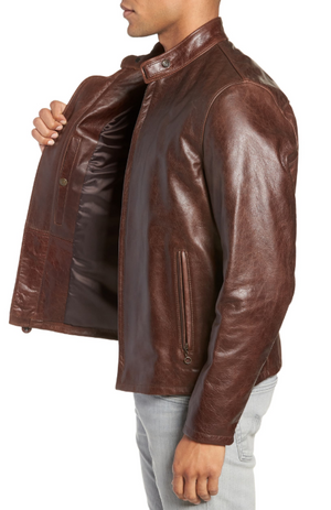 Café Racer Waxy Cowhide Leather Jacket