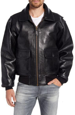 Genuine Shearling Collar Jacket
