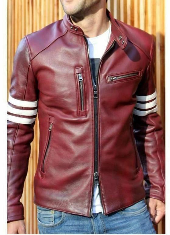 Biker Riding Maroon Genuine Real Leather Jacket