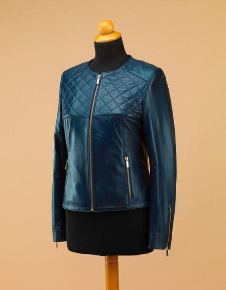 Blue women leather jacket