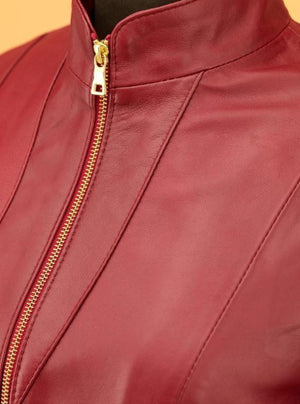 Bordeaux women leather jacket