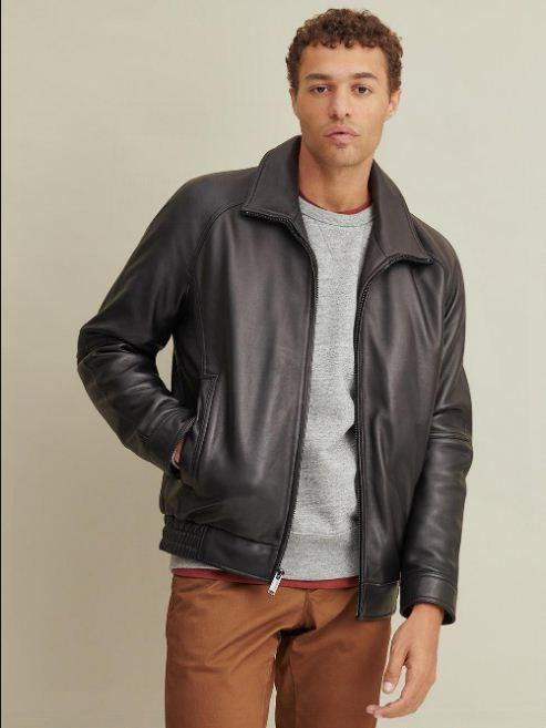 Thinsulate™ Lined Leather Bomber