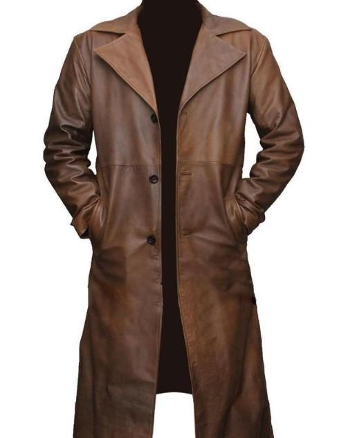 Genuine Leather Mens Trench Coat Real Cow Leather