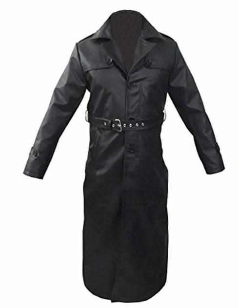 Leather Mens Trench Coat Real Cow Leather