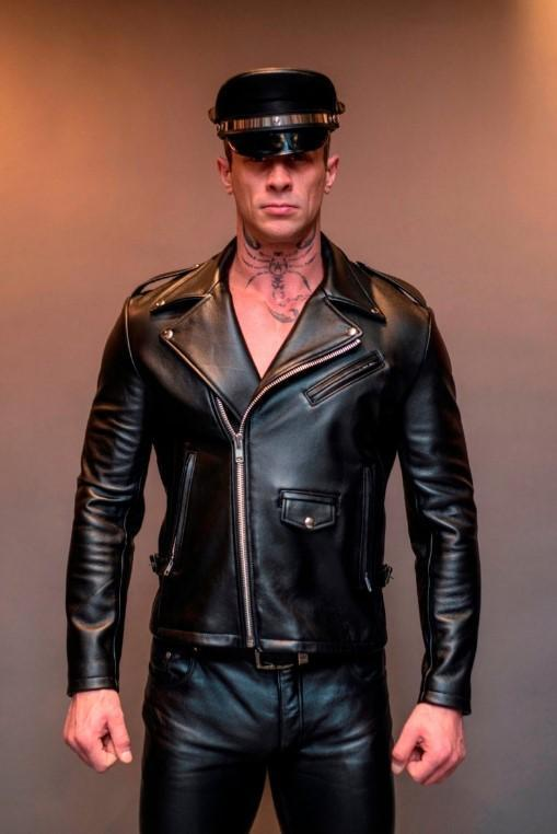 Men's Black Slim Fitted Jacket Genuine Sheep Leather Biker Jacket